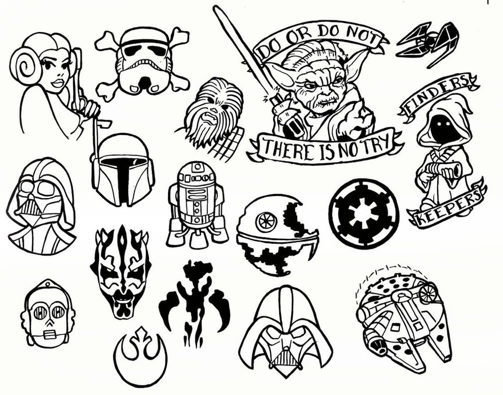 Black outline star wars tattoo flash by jason sorrell for Small tattoo flash