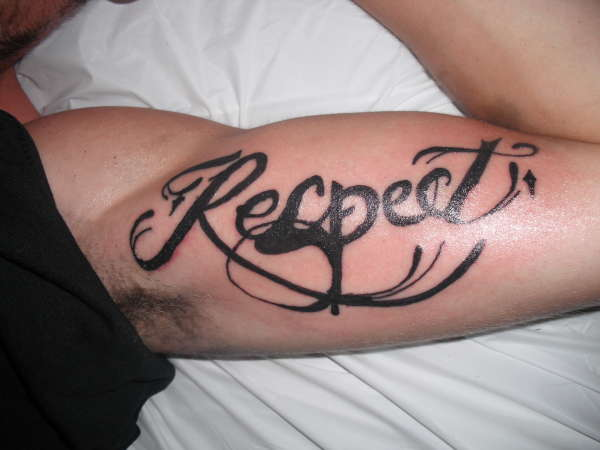 loyalty respect tattoo on man right shoulder. Black Bedroom Furniture Sets. Home Design Ideas