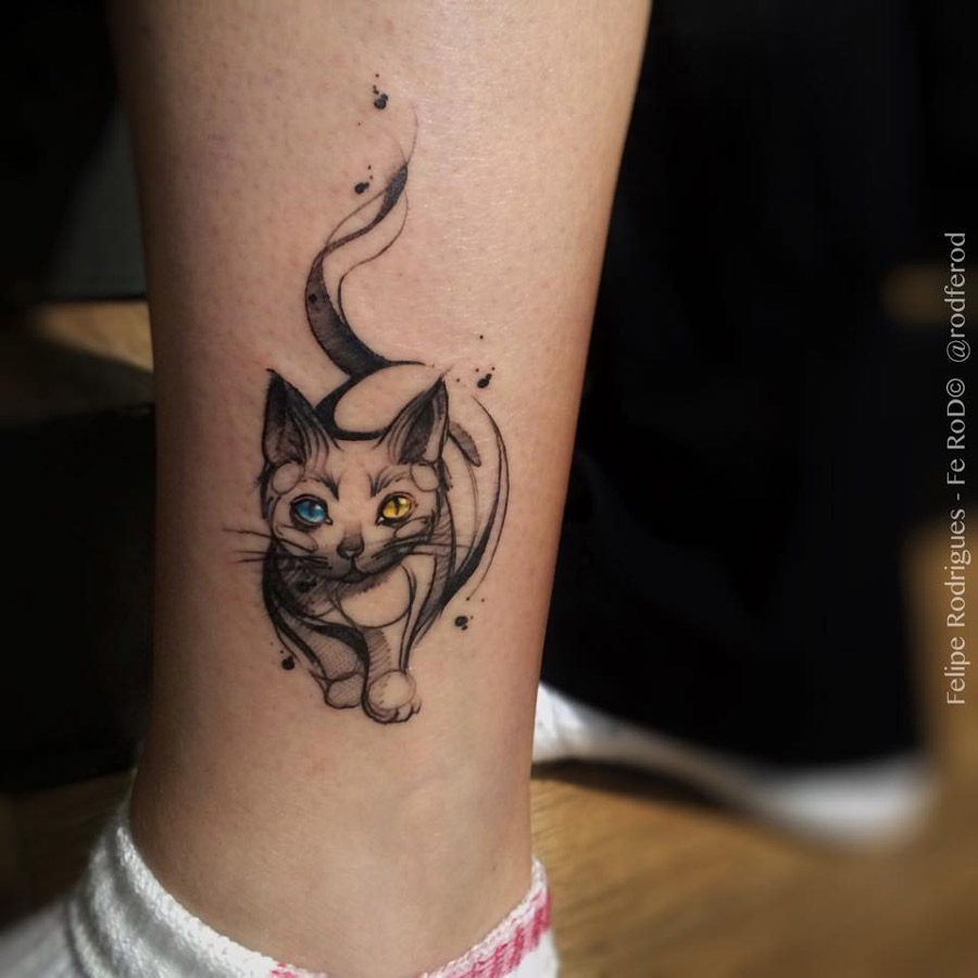 883182879 Blue And Yellow Eyes Cat Tattoo On Leg