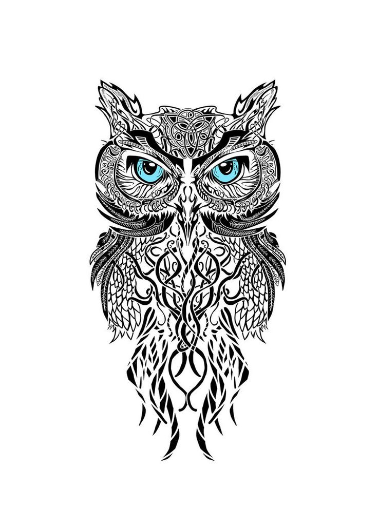 40 black and white tattoo designs for Tribal owl tattoo