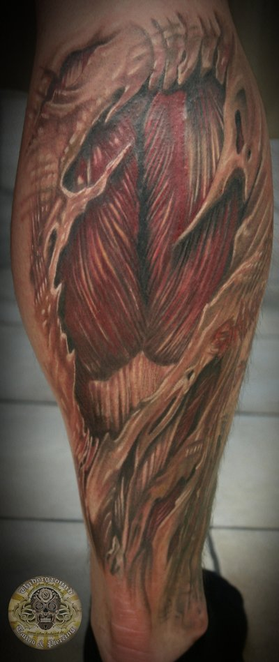 classic ripped skin muscle tattoo on leg calf by 2face. Black Bedroom Furniture Sets. Home Design Ideas