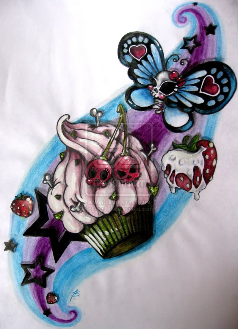 Colorful Cupcake With Skull Butterfly And Cherry Tattoo Design
