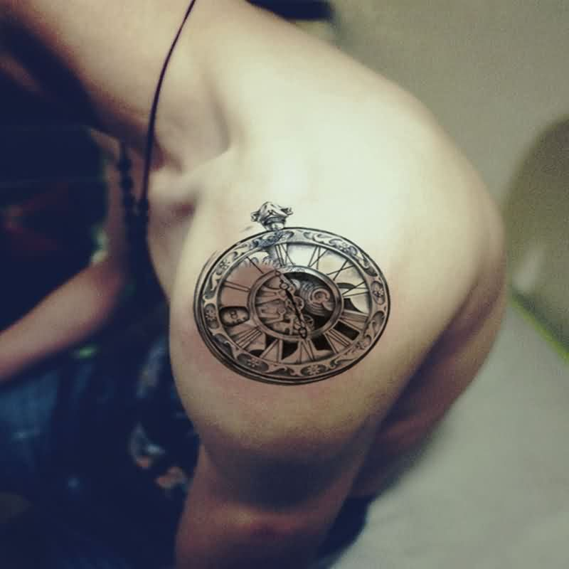 realistic 3d clock and pocket on shoulder by