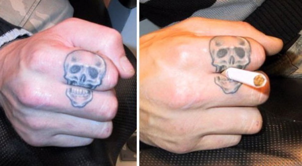Creative Skull Finger Tattoos For Men
