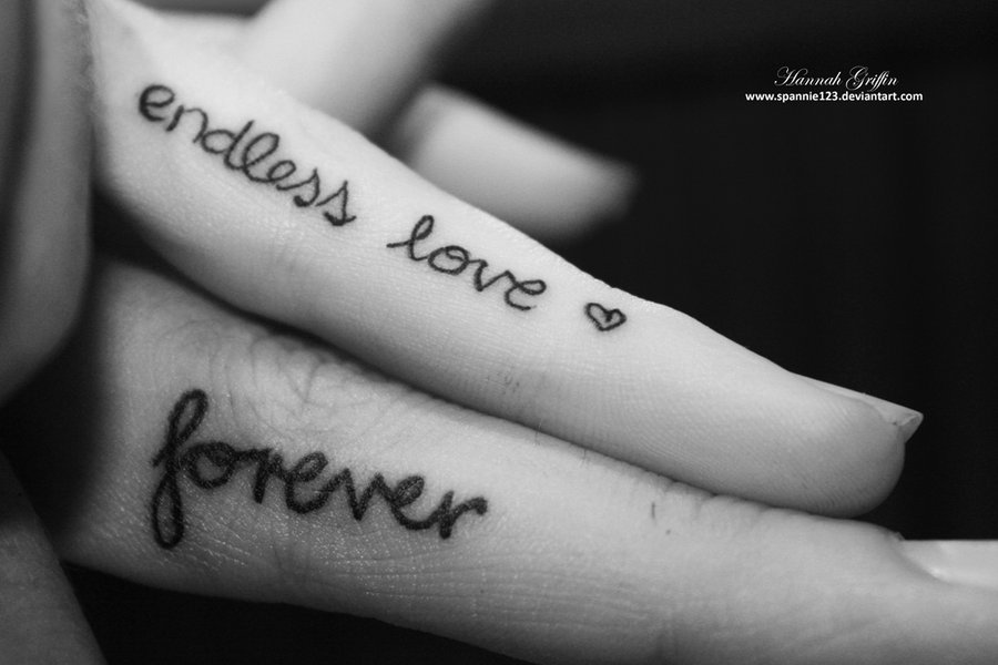 Love Tattoos For Couples Quotes Magnificent Endless Love Forever Tattoo On Fingers