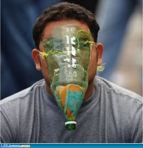 funny bottle gas mask picture