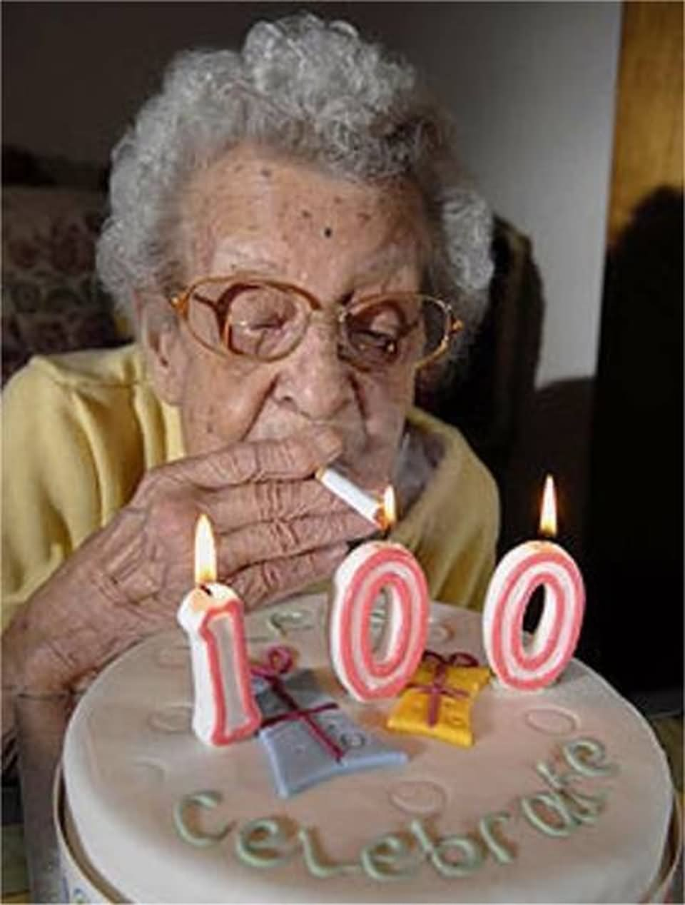 Old Lady Smoking Weed