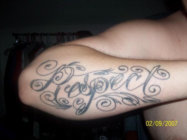 aad7b4416 Grey Ink Beautiful Respect Tattoo On Right