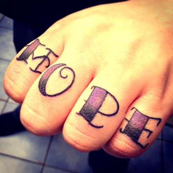 9a358fa6c Hope Tattoo On Fingers by Jerrrroen