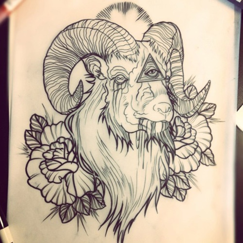 404f91ce23660 Illuminati Eye In Goat With Roses Tattoo Design