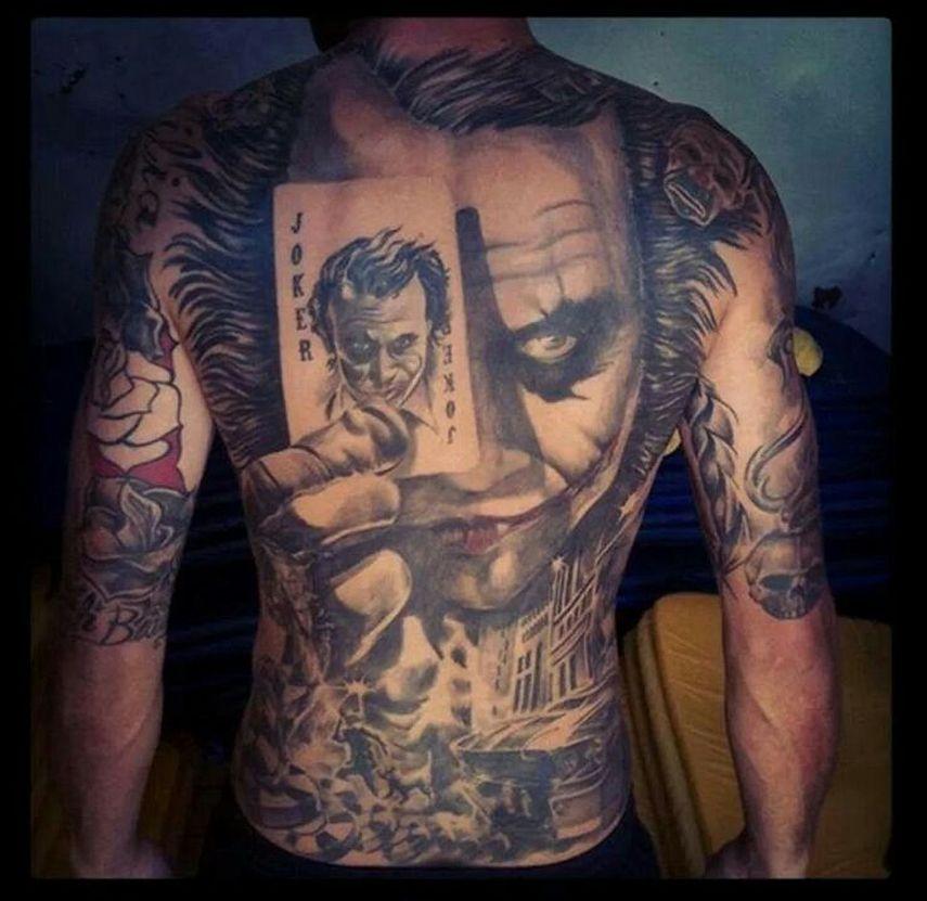 Joker Head With Joker Card Tattoo On Full Body