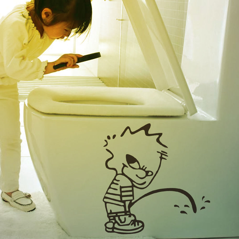 Kid WatchingToilet Seat With Magnifier Funny Picture