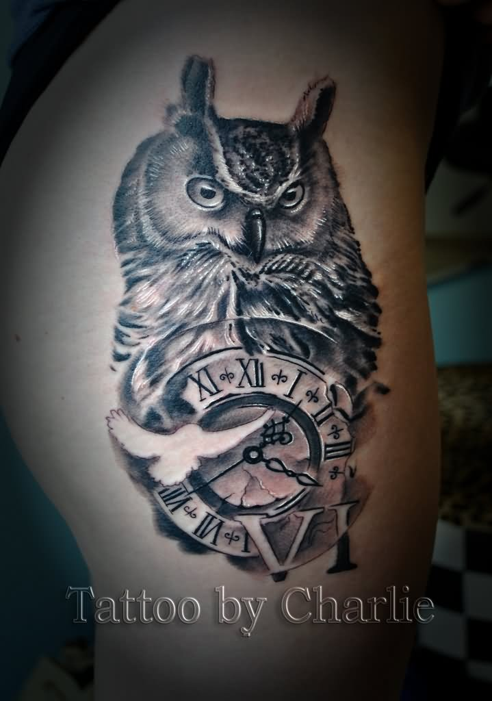 3b3c174061e24 Owl With Pocket Watch Tattoo Design For Side Thigh By Charlie