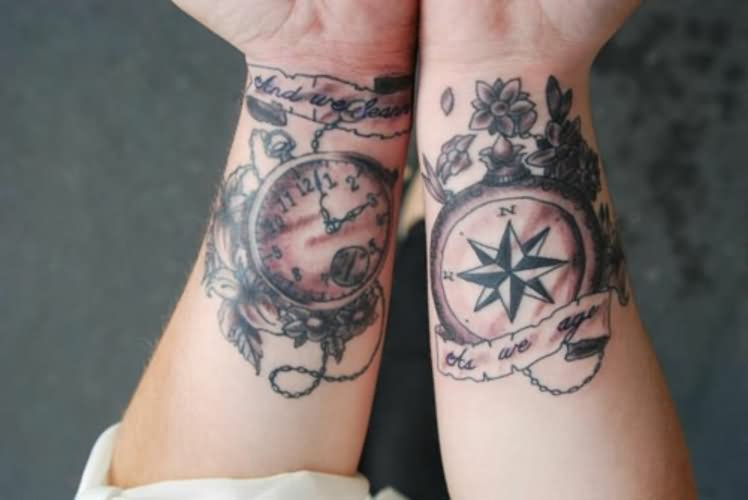 9b66e6f9ce2b2 Pocket Watch And Compass With Banner Tattoo On Both Wrist