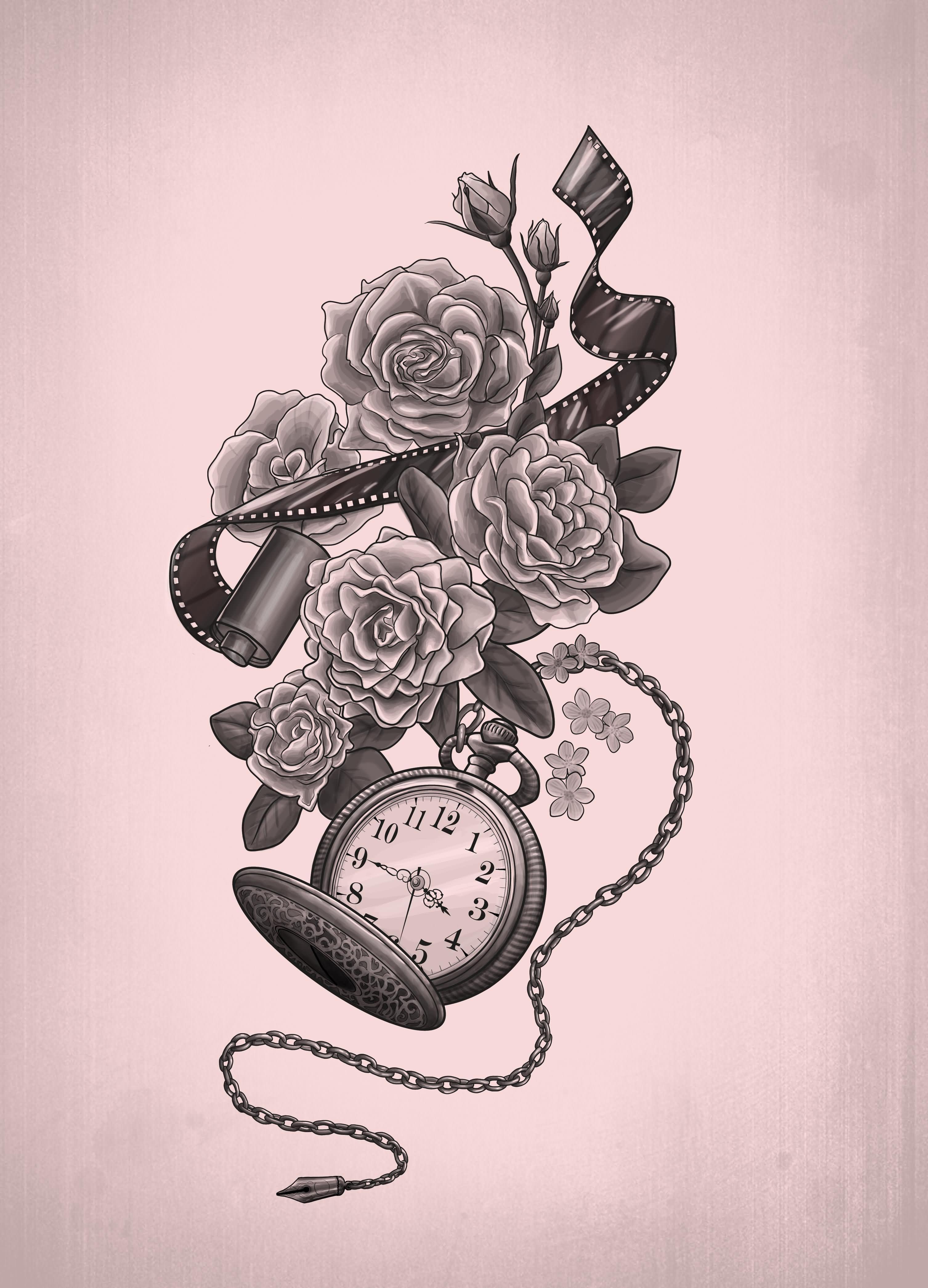 14 beautiful watch tattoo designs for Beautiful design tattoos