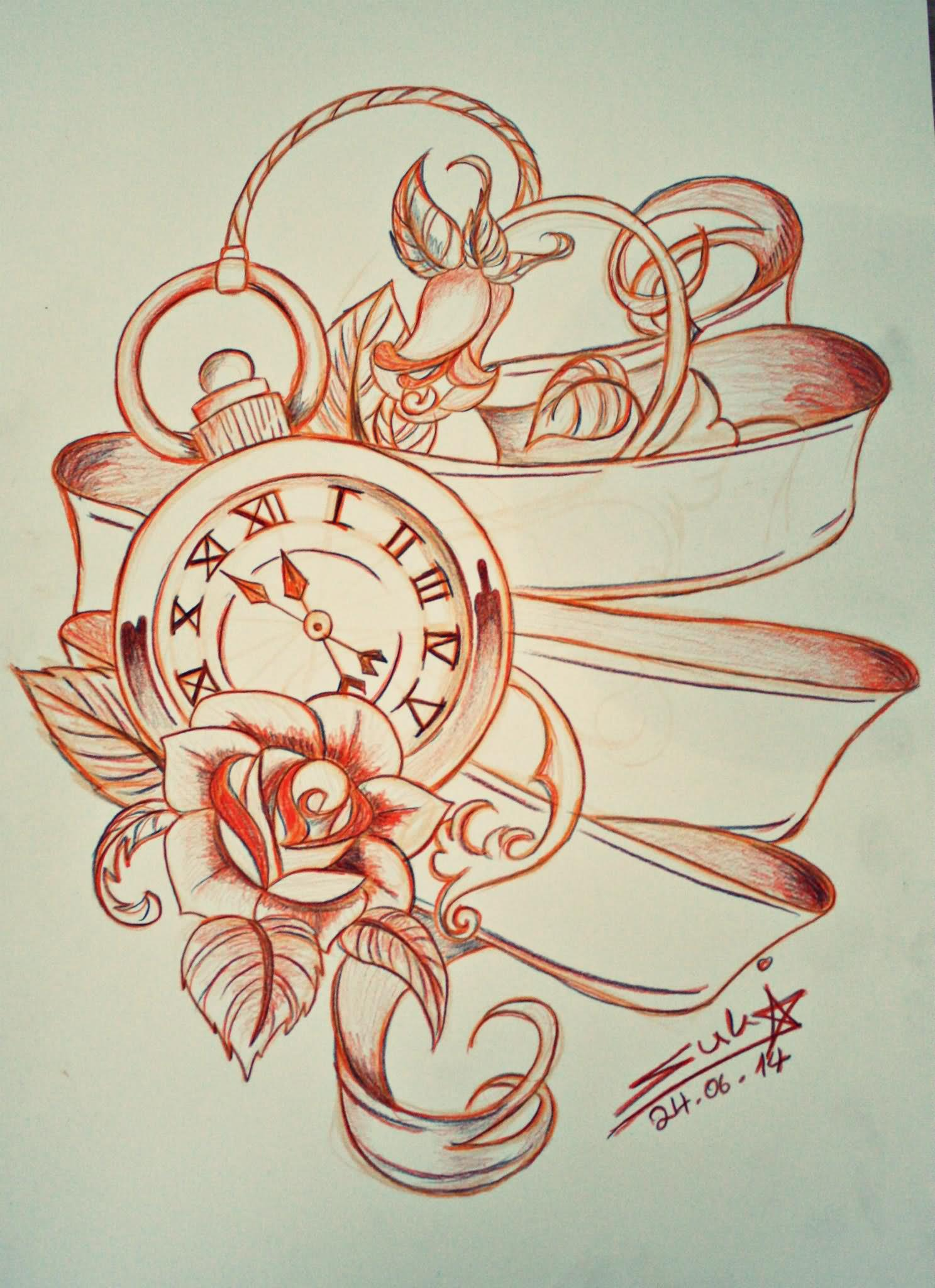 14 Beautiful Watch Tattoo Designs