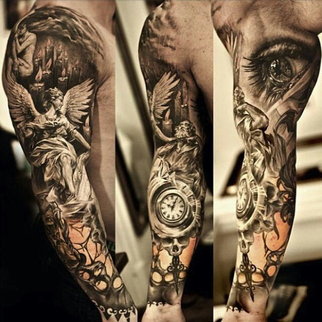 Realistic Black And White Angel Tattoo On Full Sleeve