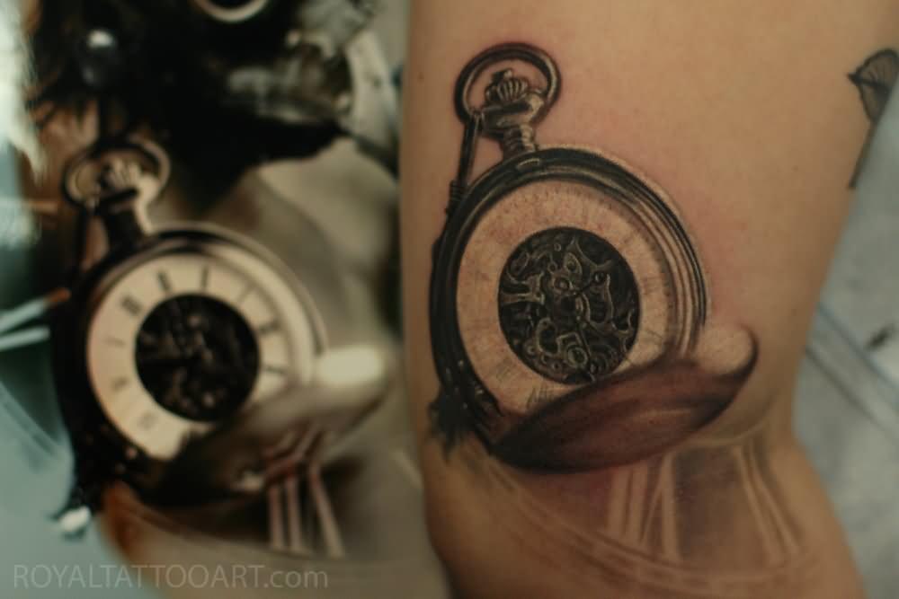 Realistic pocket watch tattoo  100+ Unique Watch Tattoos