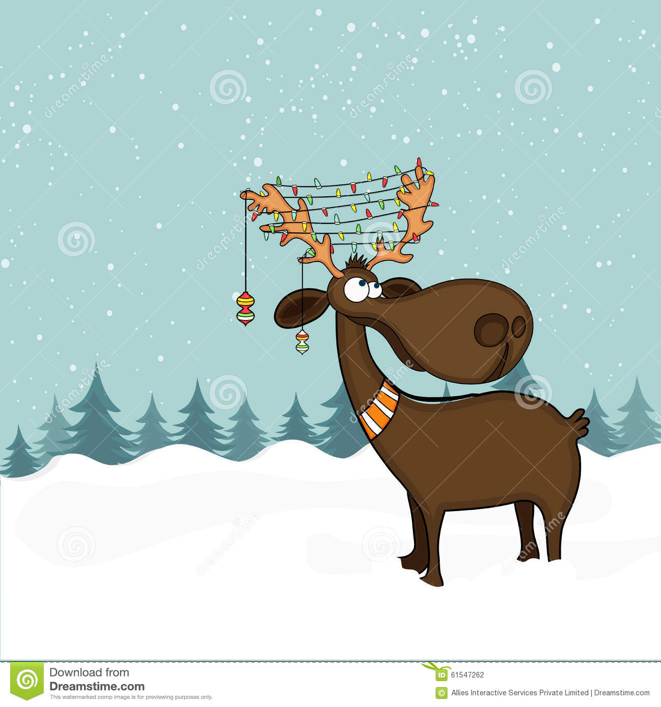 Reindeer Cartoon In Snow Funny Pose