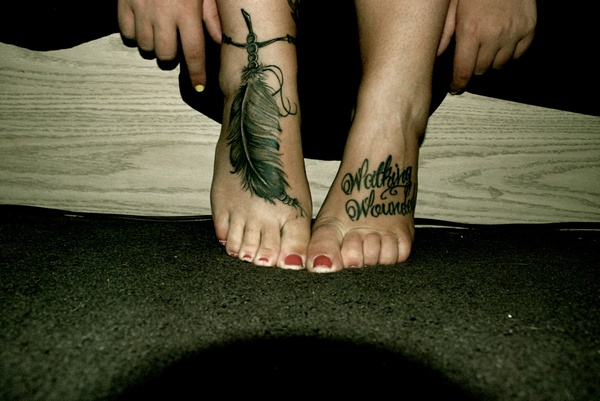 100 awesome feet tattoos for Feather on foot tattoo