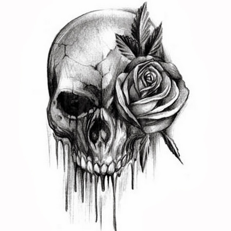 Rose Flower And Skull Black White Tattoo Design Idea