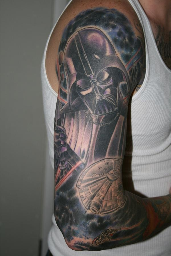 52714f821f Star War Darth Vader Tattoo On Man Right Half Sleeve