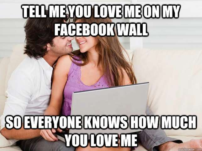 Love Me Meme Funny : Tell me you love me on my facebook wall funny couple meme