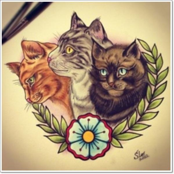 9f829667b21b8 Traditional Flowers And Cat Head Tattoo Design