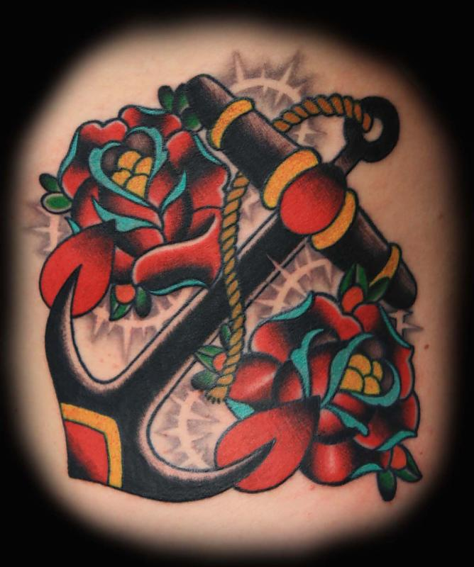 56 traditional anchor tattoos for Anchor rose tattoo
