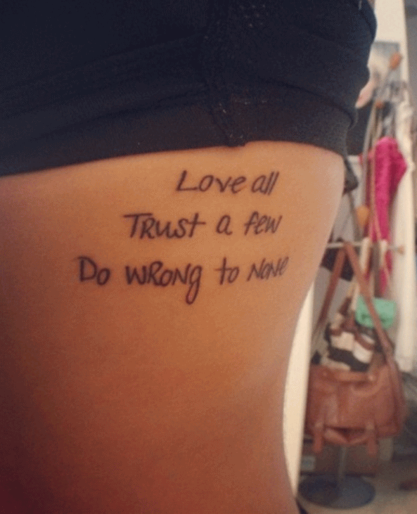Quotes For Girls Side Tattoos Quotesgram: 25+ Amazing Trust Tattoos
