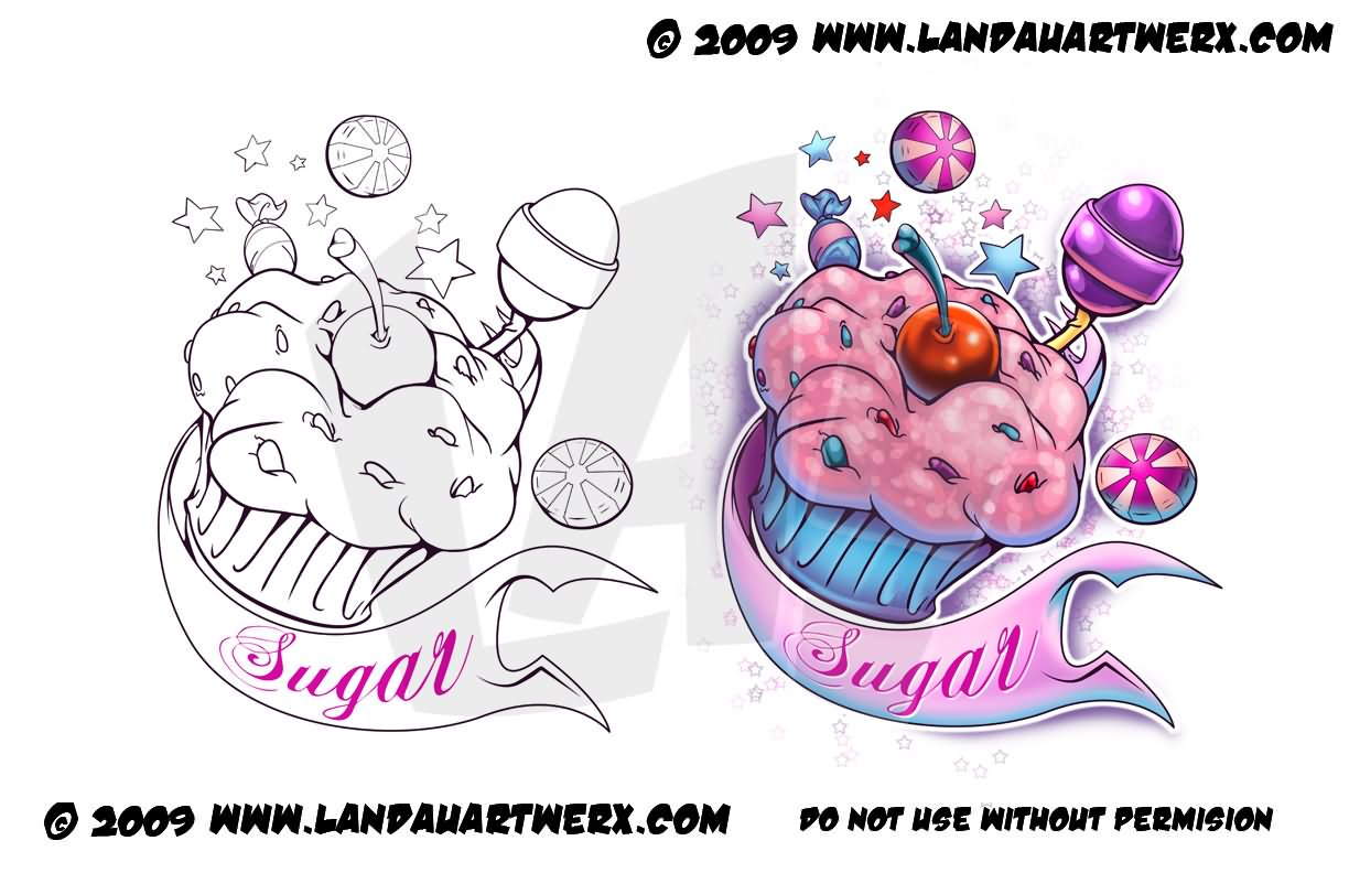 Cupcake and Candy Tattoo Designs