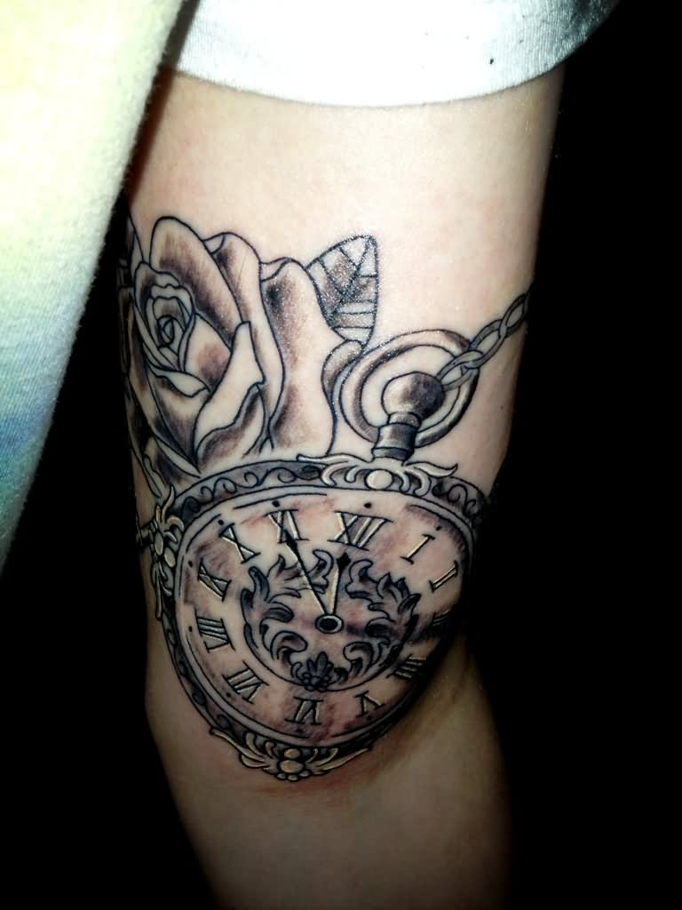 Clock forearm black rose sleeve tattoo - Unique Black Ink Pocket Watch With Rose Tattoo Design For Half Sleeve