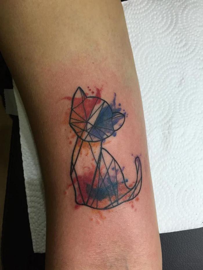 100 wonderful cat tattoos for Watercolor cat tattoo