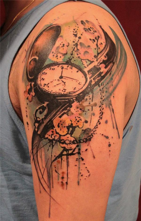 f6ab6e551b819 Watercolor Pocket Watch With Flowers Tattoo On Man Left Shoulder