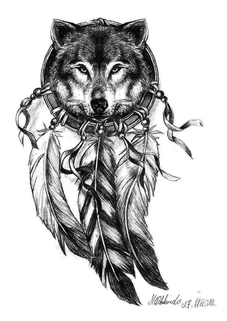 Black And White Tattoo Design Wolf Head Dreamcatcher Tattoo Design Idea