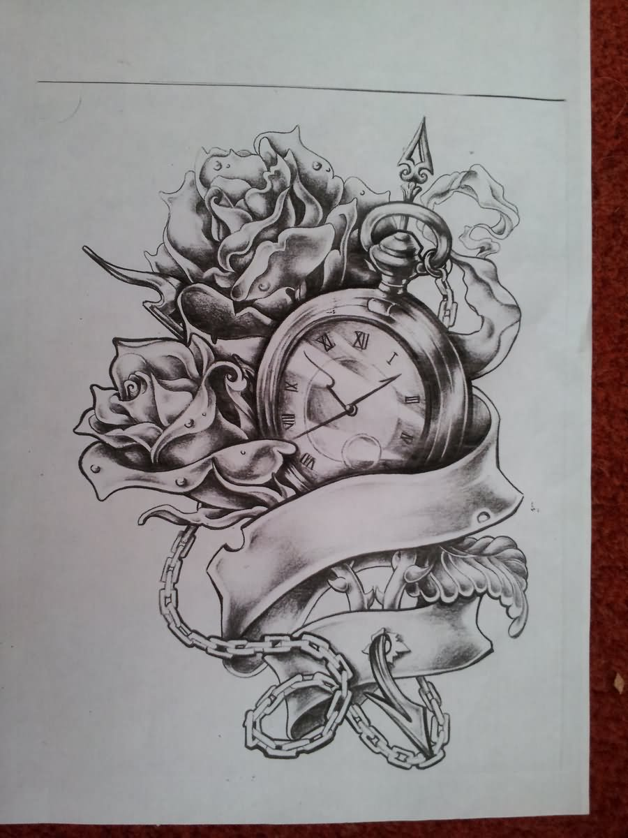 Wonderful Pocket Watch With Roses And Ribbon Tattoo Design By