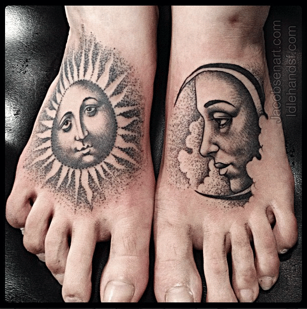 100 awesome feet tattoos for Half sun half moon tattoo