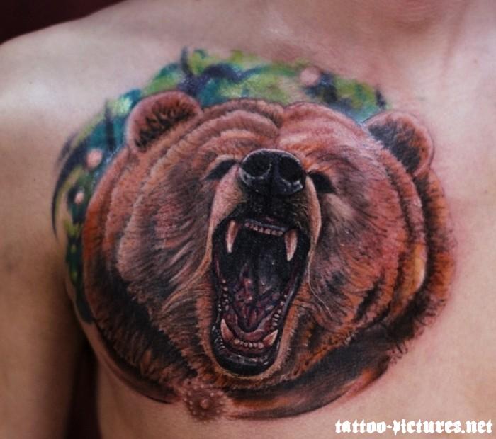78ba0c68b37ed Amazing 3D Roaring Bear Head Tattoo On Man Chest
