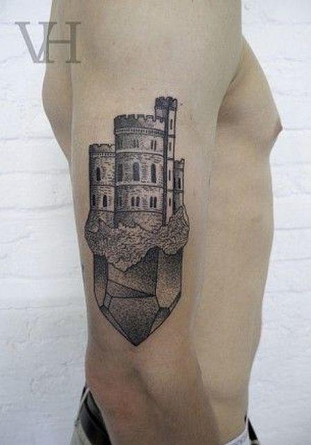 17bb384603cd6 Amazing Fantasy Castle Tattoo On Right Half Sleeve