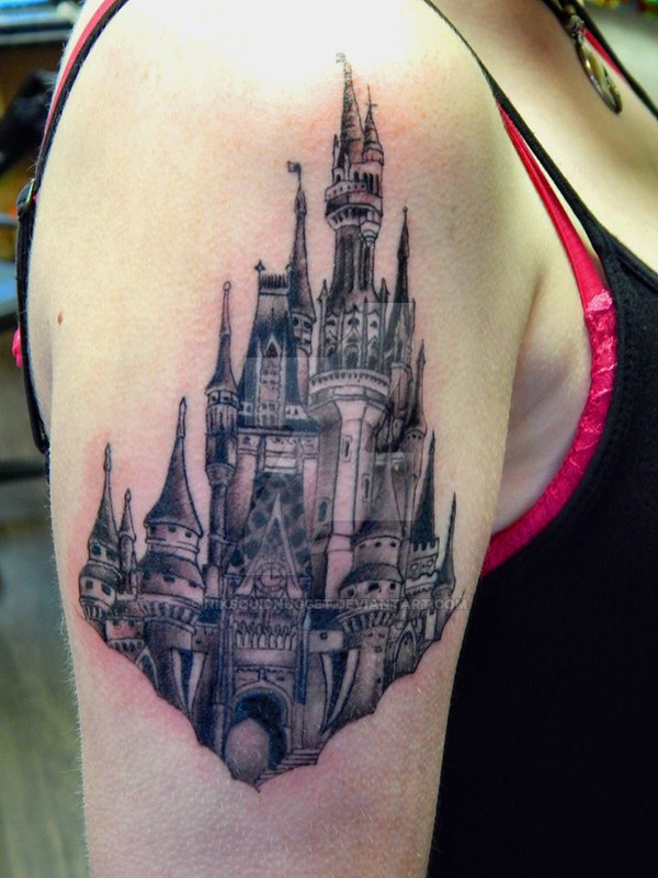 black and grey gothic disney castle tattoo on right shoulder. Black Bedroom Furniture Sets. Home Design Ideas