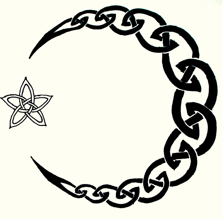 fa63710b346a1 Black Celtic Half Moon With Star Tattoo Stencil