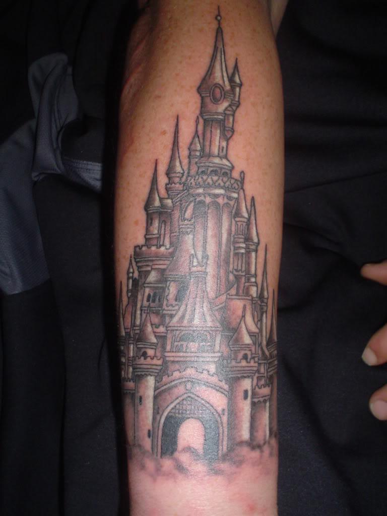 6f57587e0 Black Ink Castle Tattoo On Forearm