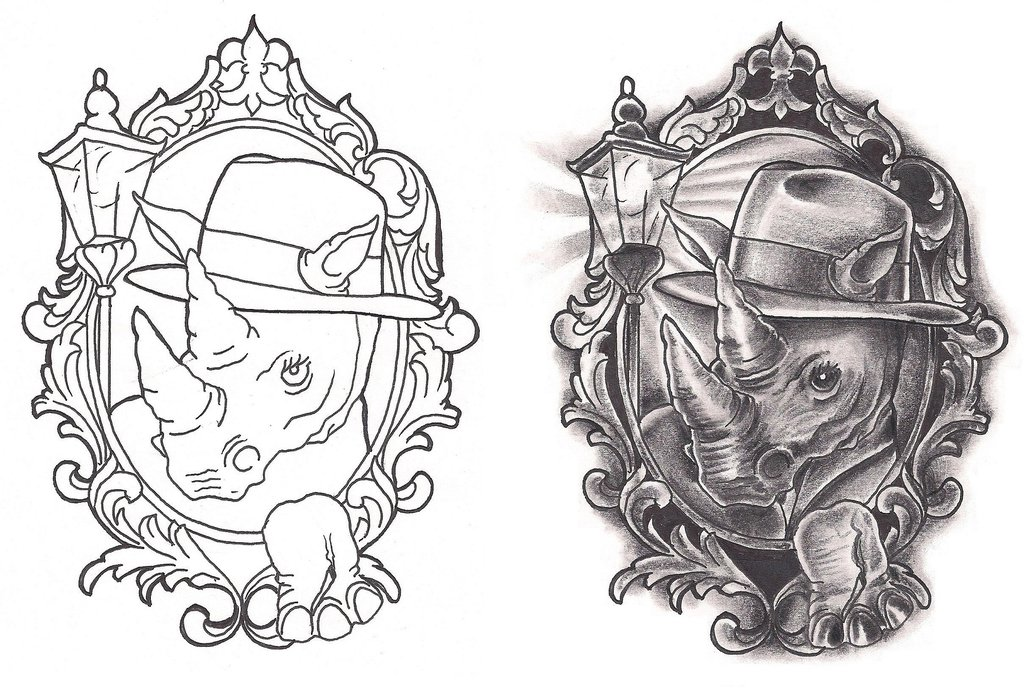 25+ Wonderful Rhino Tattoos Designs