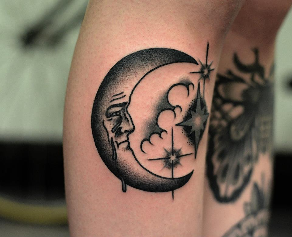 90 wonderful moon tattoos for Half moon and star tattoo