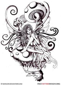 81881c853 Fairy Sit On Evil Mushroom Tattoo Design