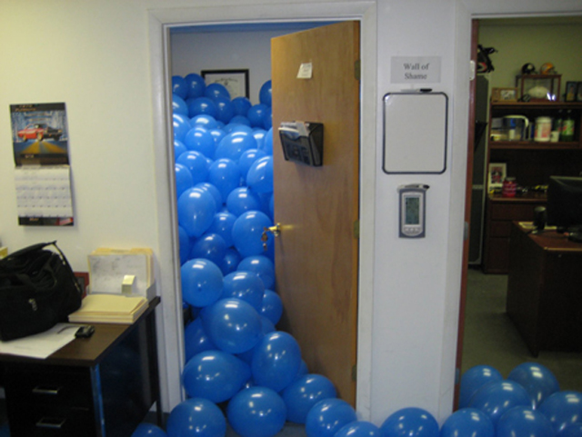 Funny Balloons Filled Office Prank Image
