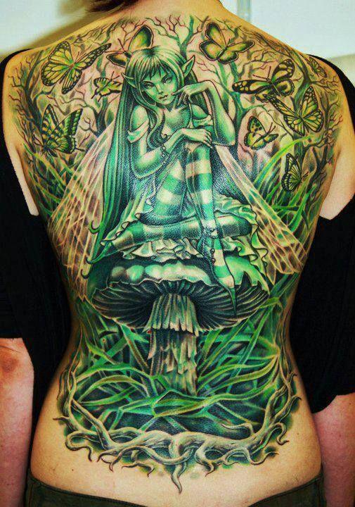 green gothic fairy girl sitting on mushroom tattoo on full back. Black Bedroom Furniture Sets. Home Design Ideas