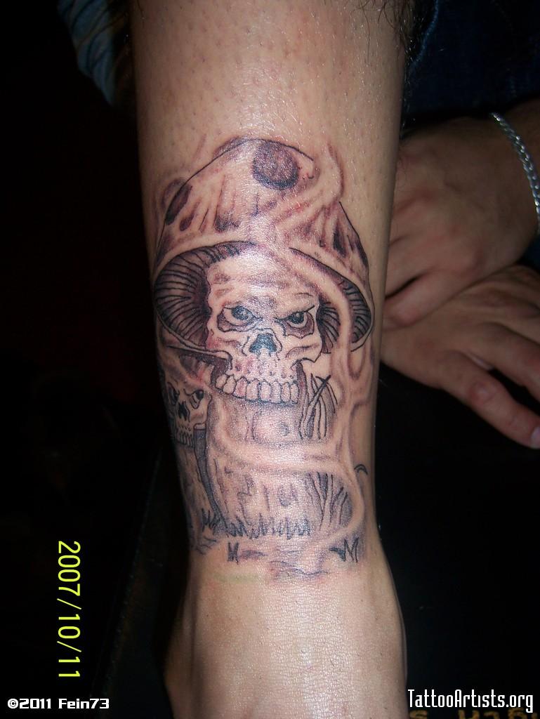 Evil mushroom tattoo