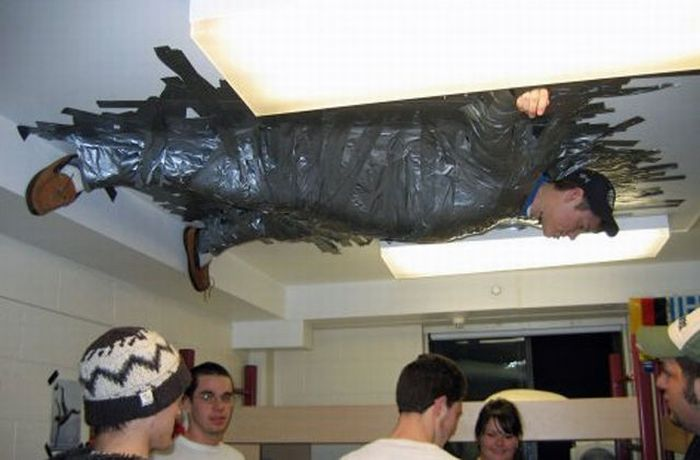 Man Adhered With Roof Funny Prank Picture