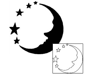 32 moon tattoo designs for Half moon and star tattoo